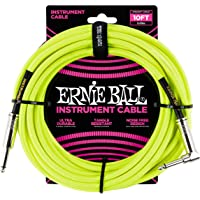 Ernie Ball - Cable para instrumentos, Amarillo Neón, 10 ft.