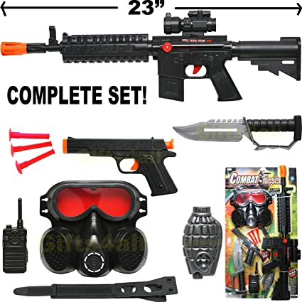Ammo Lights and Sounds Realistic Pistol Role Fun Gift Kids Toy Gun with Scope