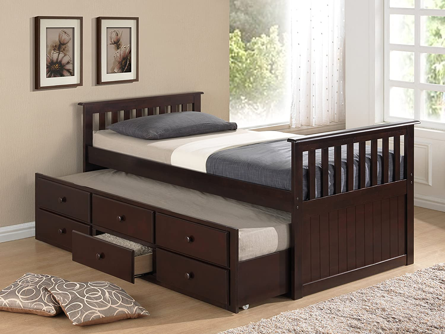 Amazon com broyhill kids marco island captains bed with trundle bed and drawers twin espresso twin sized mattress not included bunk bed alternative