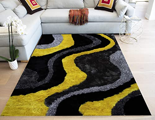 LA 3D Shag Shaggy Striped Woven Braided Hand Knotted Feizy Accent Fluffy Fuzzy Modern Contemporary Plush 8-Feet-by-10-Feet Polyester Made Area Rug Carpet Rug Yellow Black Grey Gray Charcoal Colors