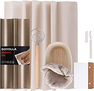 DOYOLLA Bread Baking Kit for Beginners - Proofing Basket & Liner 10inch + 2-loaf French Baguette Pan + Pastry Couche + Scraper + Dough Whisk; Perfect for Professional & Home Sourdough Baking