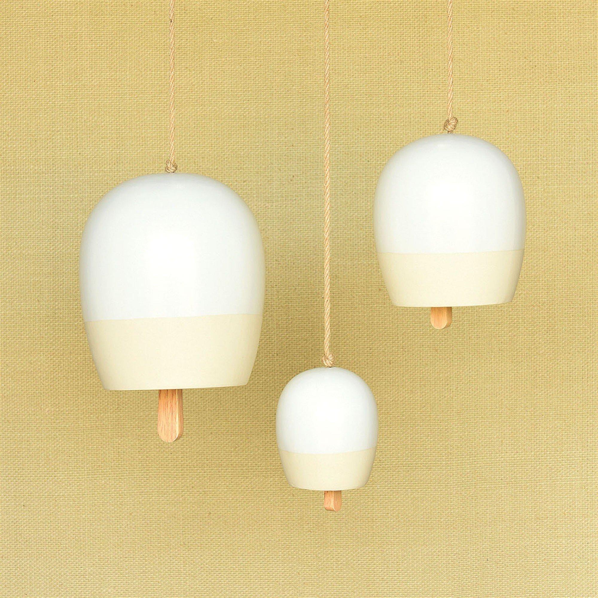 Elegant Two Tone Ceramic Garden Bell Set 3 | Hanging Simple Wind Chimes