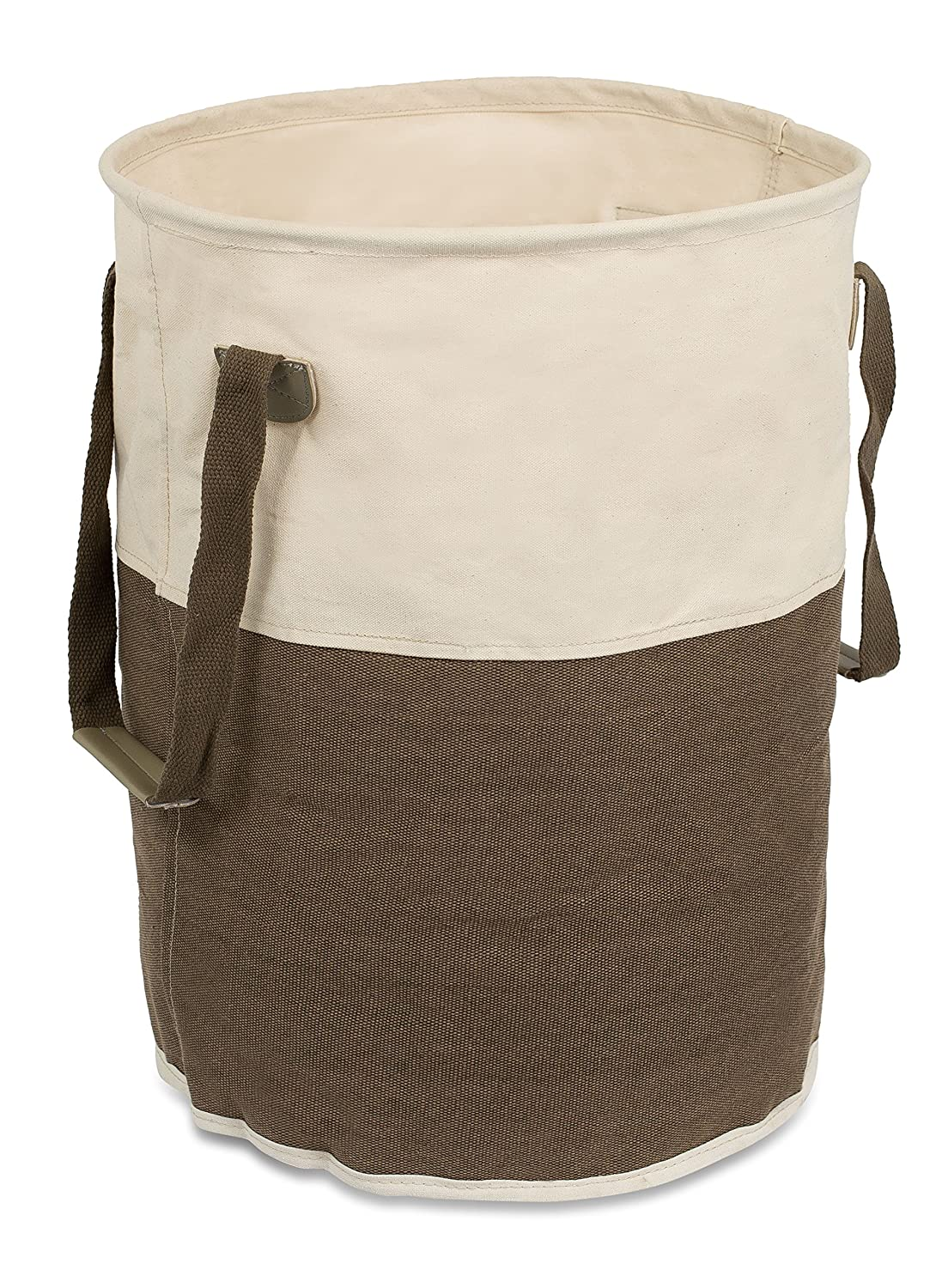 BirdRock Home Round Cloth Laundry Hamper with Handles   Dirty Clothes Sorter   Easy Storage   Foldable   Brown and White Canvas