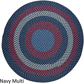 product image for Rhody Rug Mission Hill 4 ft Round Indoor/Outdoor Braided Area Rug - Made in USA Navy Multi
