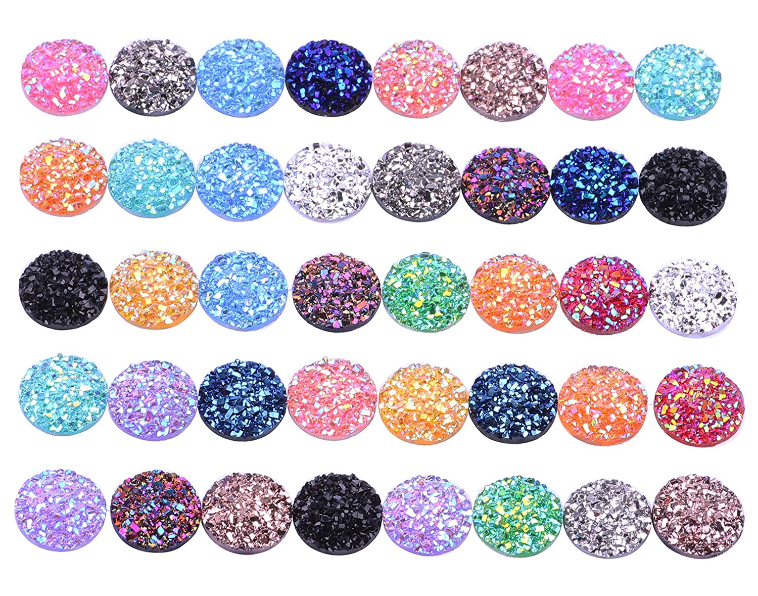 100 Mix Color 12mm Round Flat Back Resin Cabochon Cameo Faux Druzy Cabochons Mermaid Deco Jewelry Making Yaoding