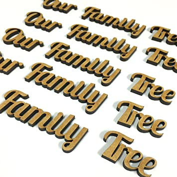 amazon com 5 sets of our family tree words wooden cut out mdf