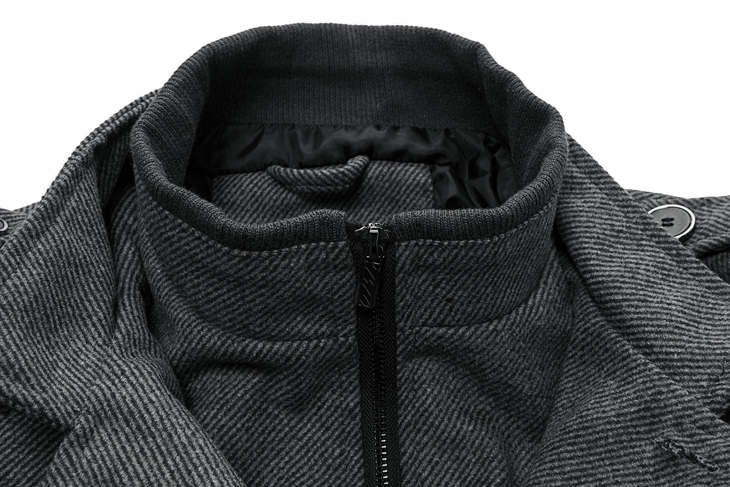 Wantdo Men's Wool Coat Stand Collar Windproof Jacket Overcoat Grey Large by Wantdo (Image #4)