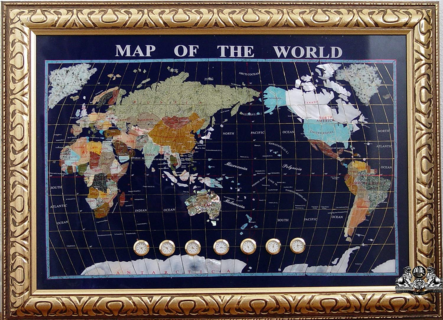 Unique Art 30-Inch Cross withWooden  Frame - Blue Lapis Ocean gemstone World Map with Watch Clocks