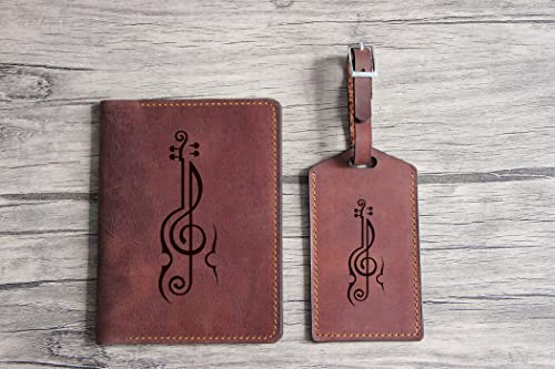 Musical Notes Genuine Leather Passport Cover Personalized