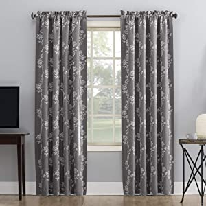 """Sun Zero Laurita Floral Embroidery Theater Grade Extreme 100% Blackout Rod Pocket Curtain Panel, 52"""" x 95"""", Steel Gray"""