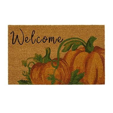 Elrene Home Fashions Farmhouse Living Fall Welcome Pumpkin Coir Mat, 18  x 30 , Natural