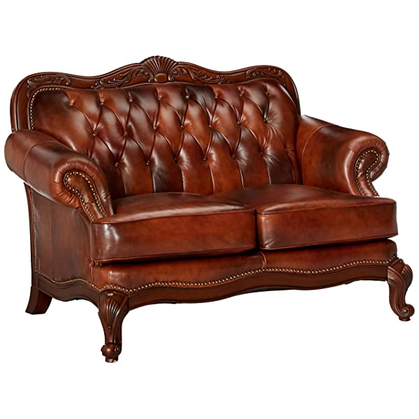 Victoria Button Tufted Loveseat Tri-tone Warm Brown