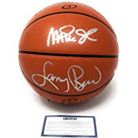 $349 » Larry Bird Magic Johnson Lakers Boston Celtics Dual Signed Autograph Silver NBA Game Basketball Steiner Sports Certified
