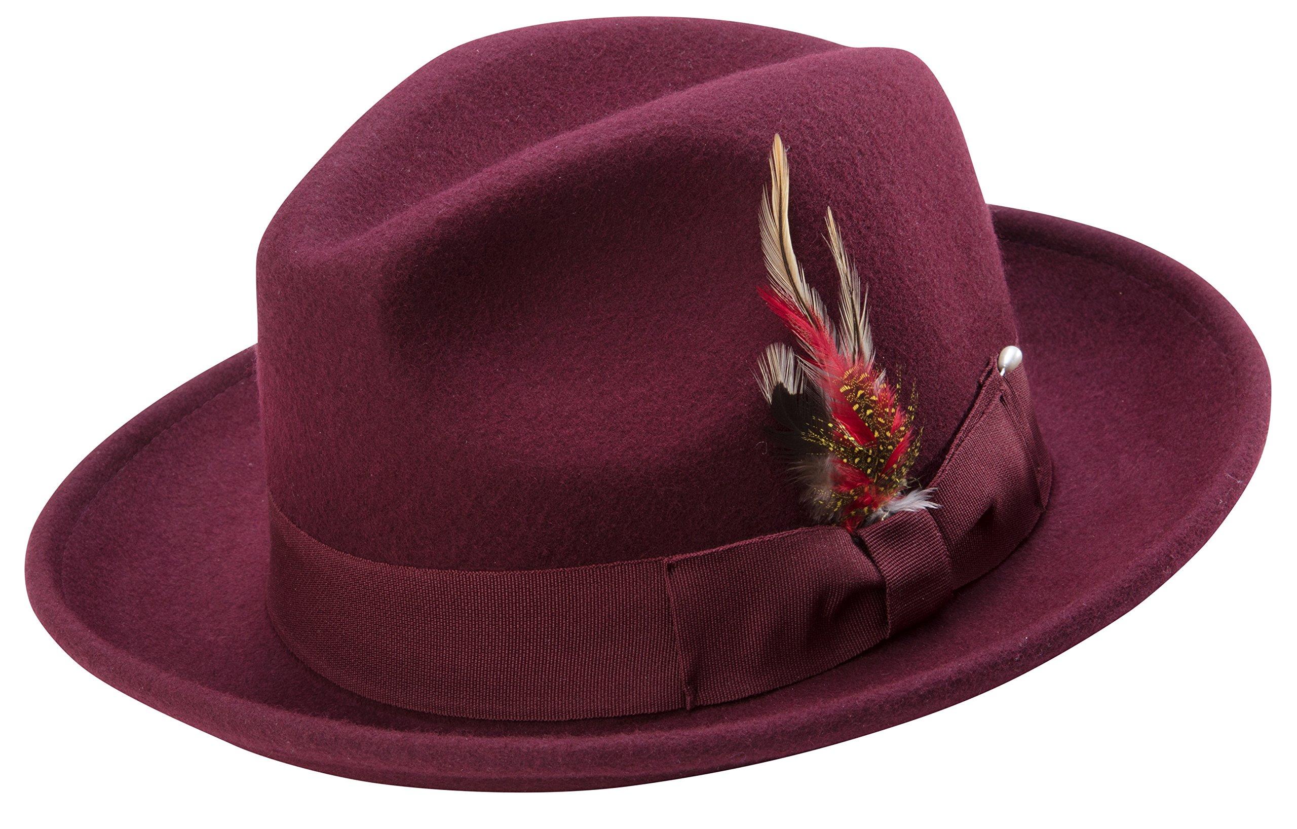 Montique Untouchable Fine Felt Pinch Fedora Gangster Hat