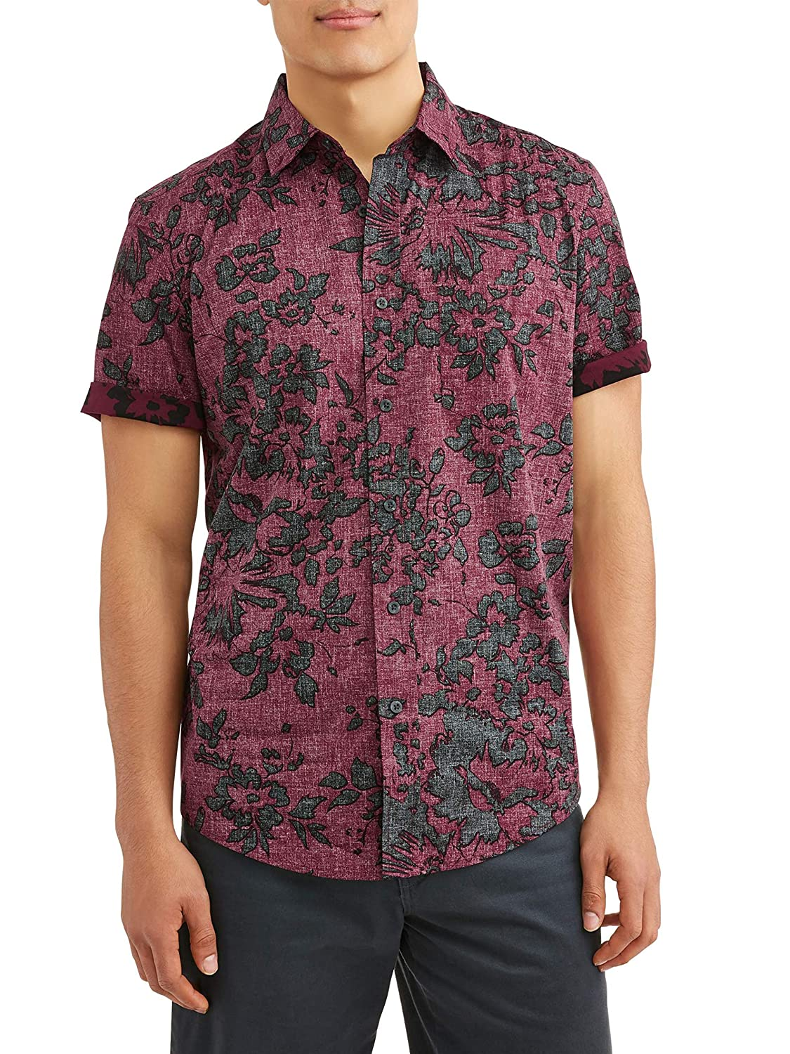 George Mens Short Sleeve Stretch Print Woven Shirt