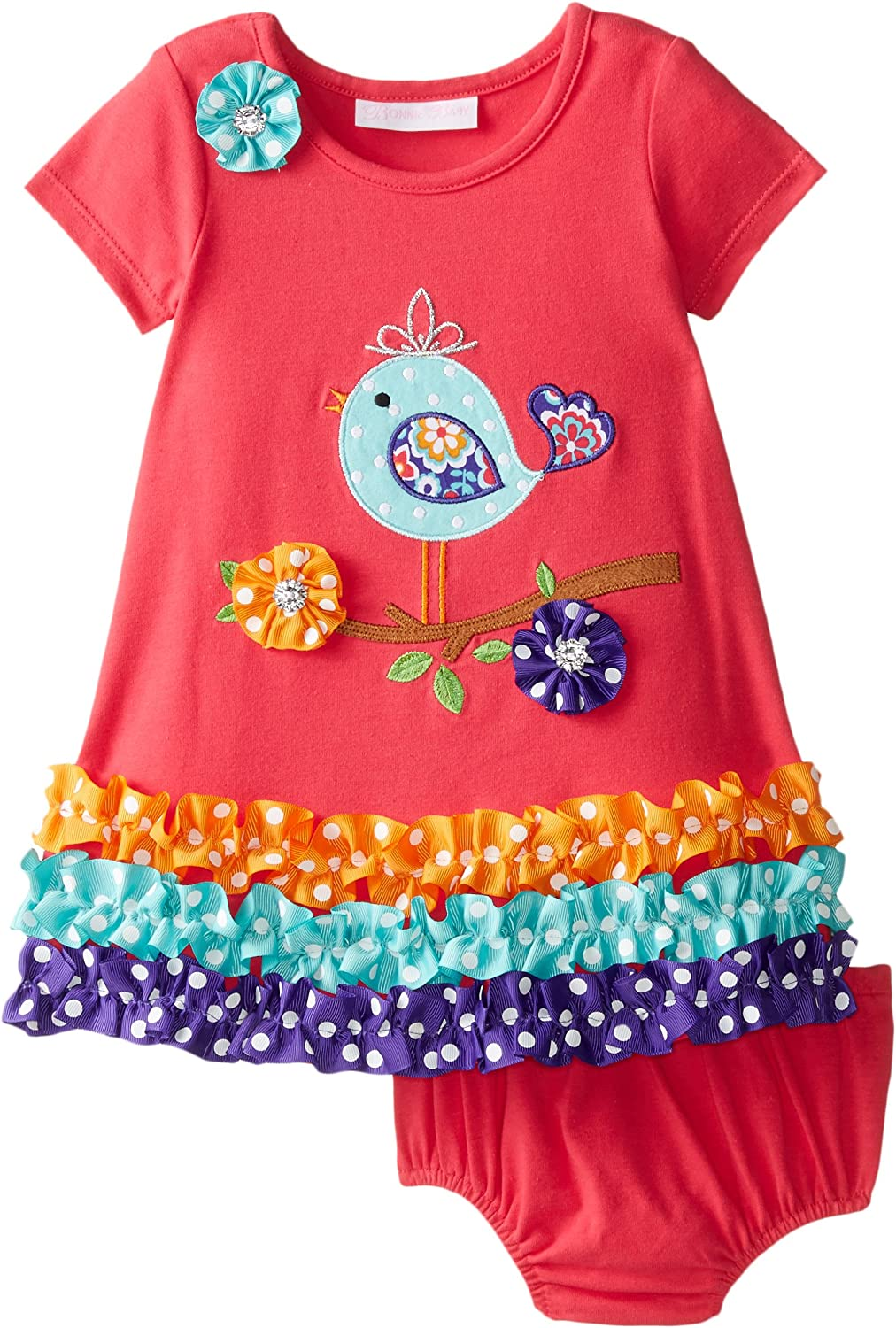 Bonnie Baby Baby Girls Bird Applique Dress