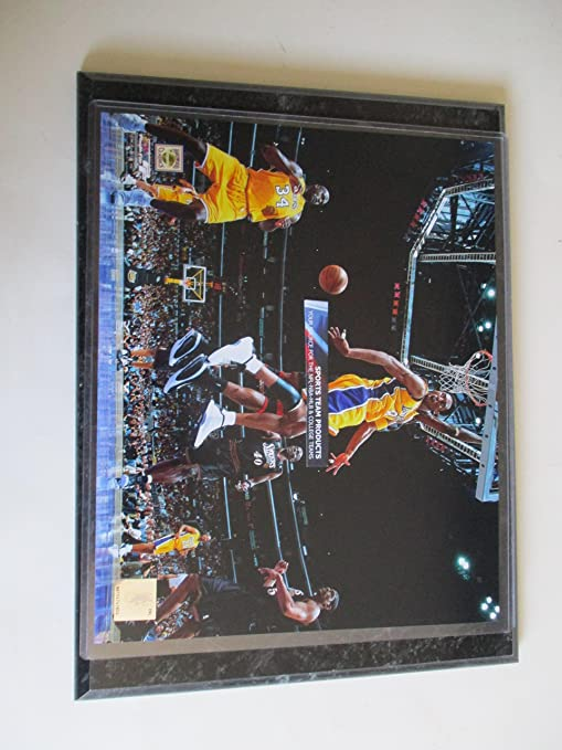 new style faf4b ebe4b KOBE BRYANT LOS ANGELES LAKERS BEHIND THE BACK PASS TO SHAQUILLE O NEIL  DURING 2001 NBA FINALS PHOTO MOUNTED ON A 9