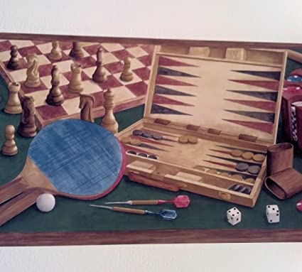 Game Room Wallpaper Border Poker Darts Pool Backgammon