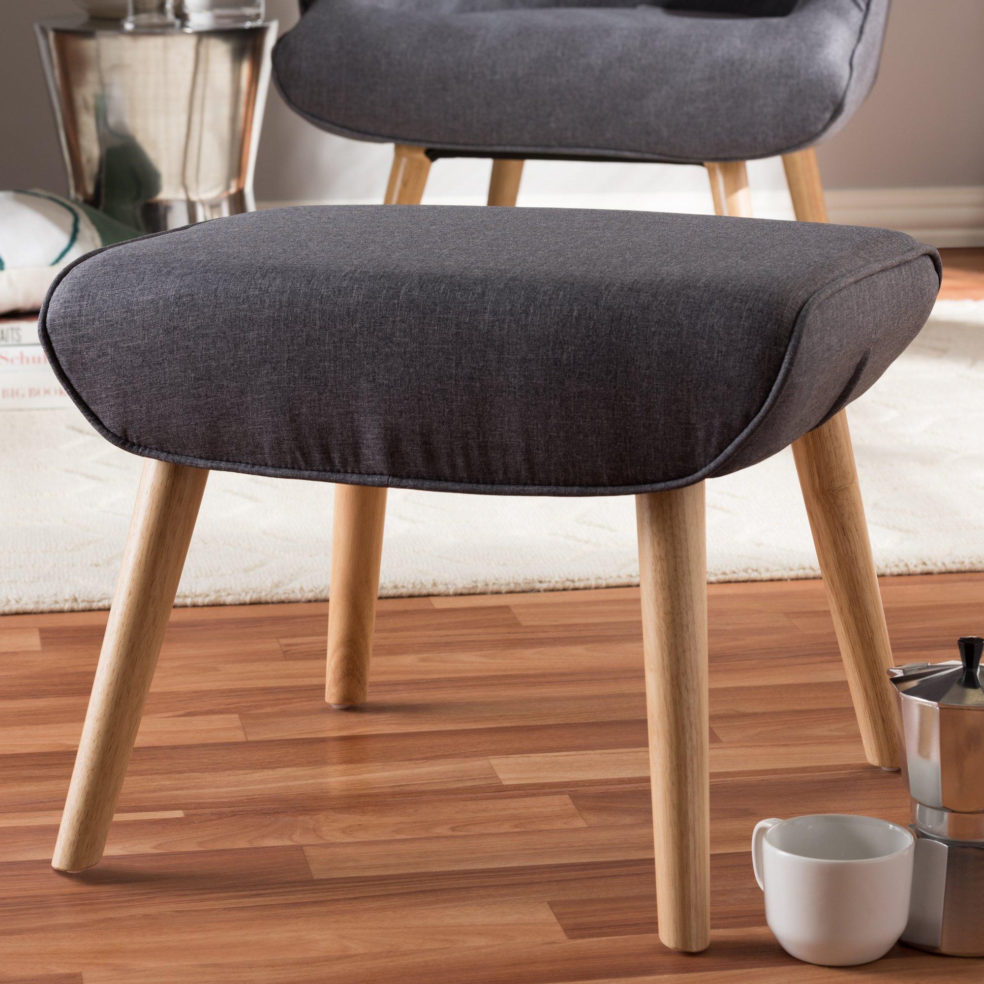Baxton Studio Alden Mid-Century Modern Dark Grey Fabric Upholstered Natural Finished Wood Ottoman/Mid-Century/Grey/Light Wood/Fabric Polyester 100''/Rubber Wood/Foam