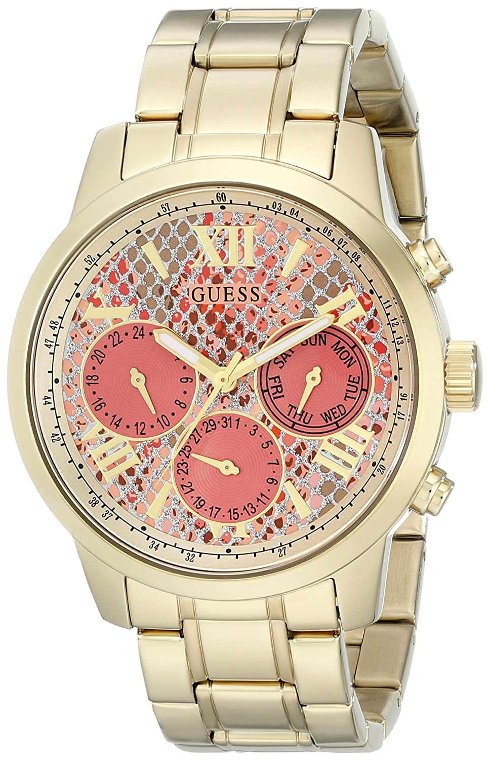 GUESS Women s U0330L11 Stainless Steel Gold-Tone Watch with Coral Python-Print Multi-Function Dial, Day, Date 24 Hour Int l Time