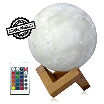 Luna Lamps Led Night Light for kids 5.9 Inch, 16 Color Remote 3D Moon Lamp