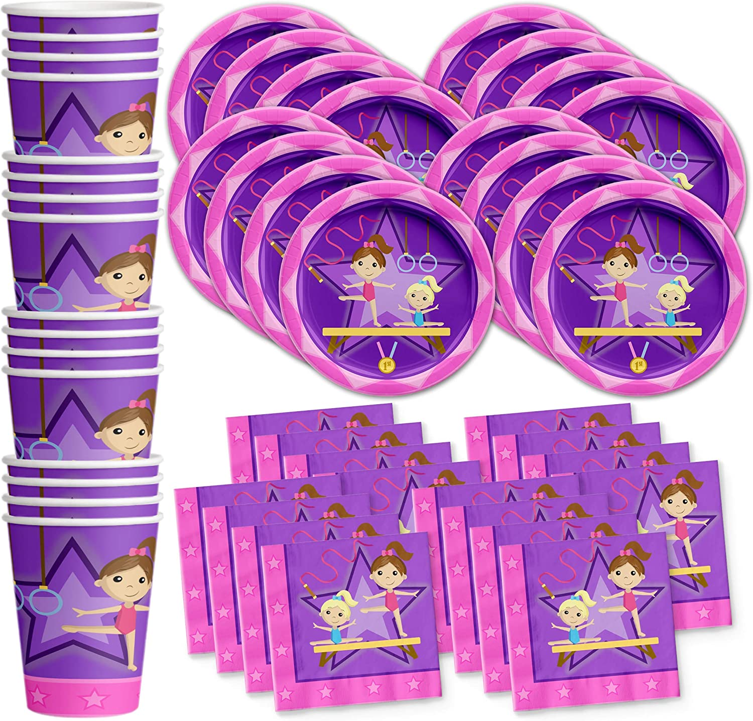 Gymnastics Star Birthday Party Supplies Set Plates Napkins Cups Tableware Kit for 16 by Birthday Galore