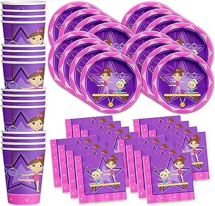 gymnastics star birthday party supplies set plates napkins cups tableware kit for 16