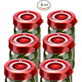 Galahome 6-Pack Easy Fermentation Lid Kit, Make Pickle&Sauerkraut, Waterless Airlock Fermenting Kit for Wide Mouth Mason Jars Not Crock Pots, Bonus Pump, No Mold, Red (2 Colors Available)