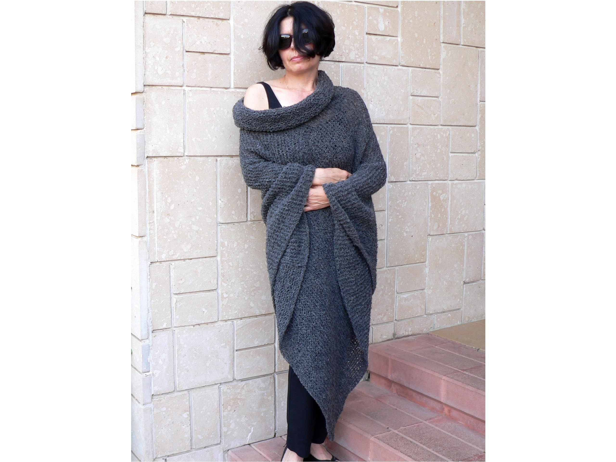 Women Poncho with Cowl Neckline Hood
