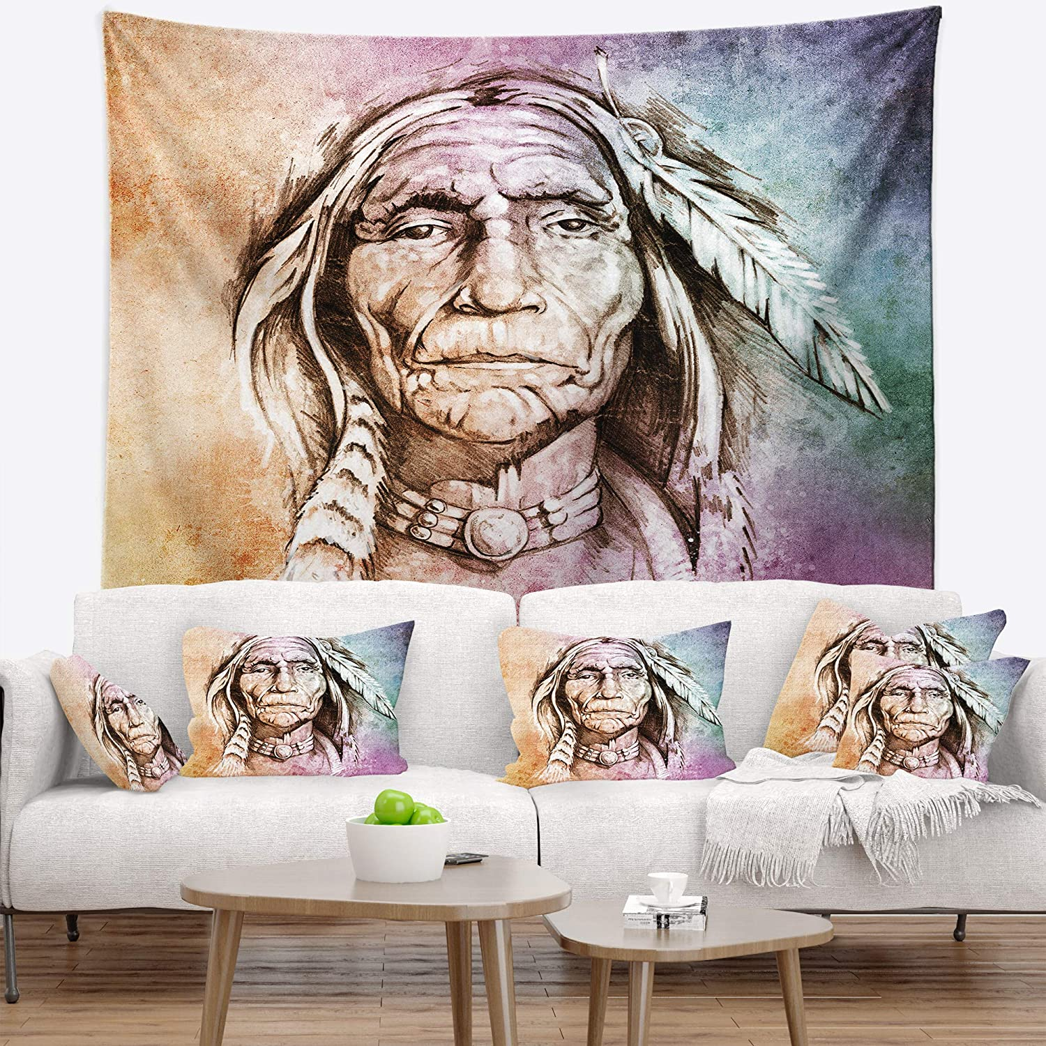 in Designart TAP6271-80-68  American Indian Head Portrait Blanket D/écor Art for Home and Office Wall Tapestry x Large x 68 in 80 in