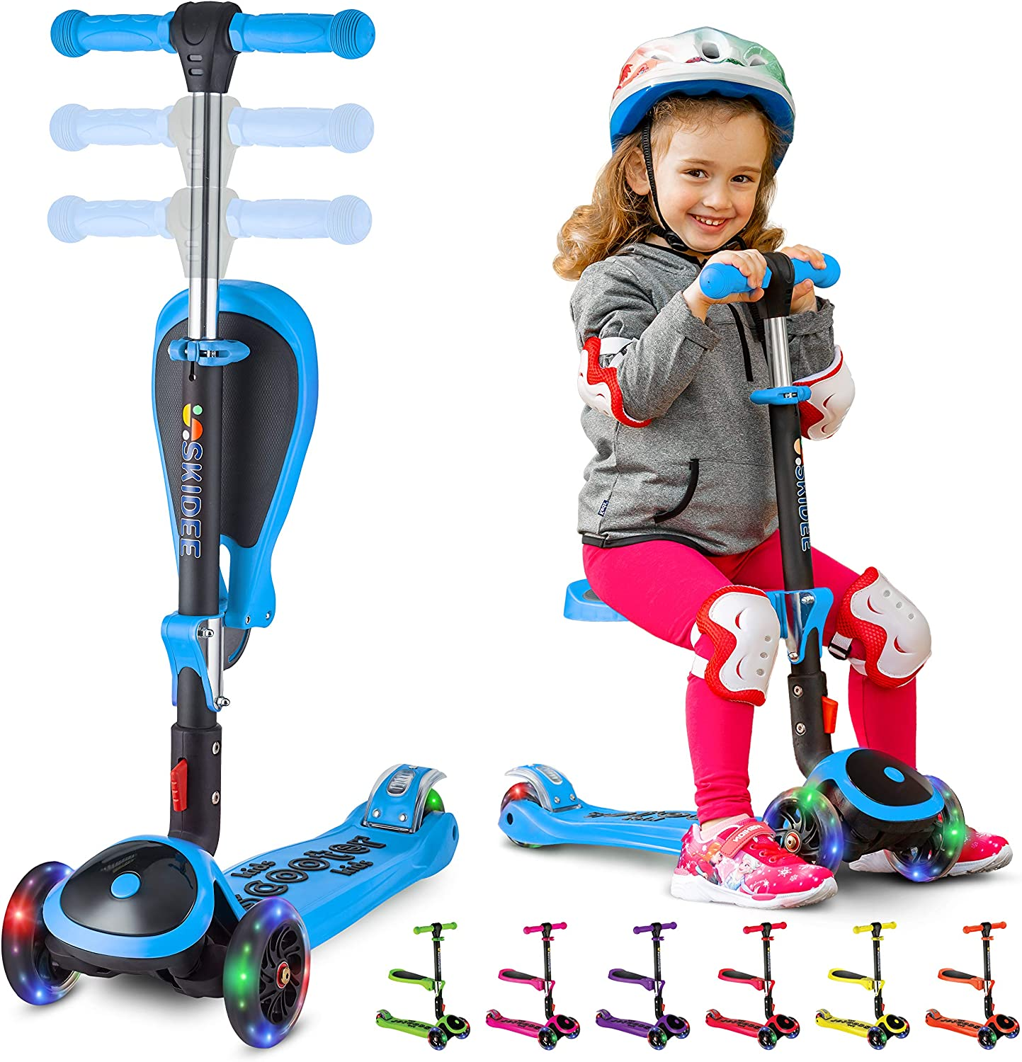 SKIDEE Kick Scooters for Kids 2-12 Years Old