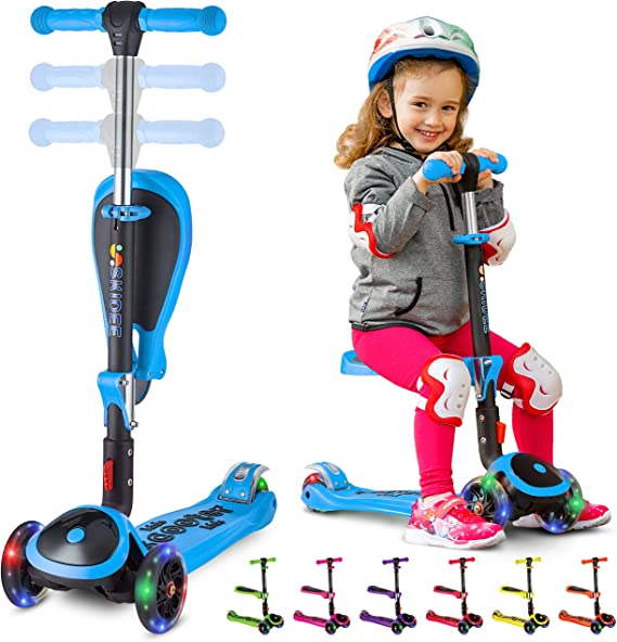 2 in 1 Scooters Toddlers for Kids Kids Scooter /& Toddler Scooter for Ages 1-14 Years Old Boys and Girls Three Wheels with Extra Wide PU Light-Up Adjustable Height W//Extra-Wide Deck and Back Wheel Brake Kick Scooter for Kids