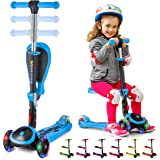 Kick Scooters for Kids Ages 3-5 (Suitable for 2-12 Year Old) Adjustable Height Foldable Scooter Removable Seat, 3 LED Light W