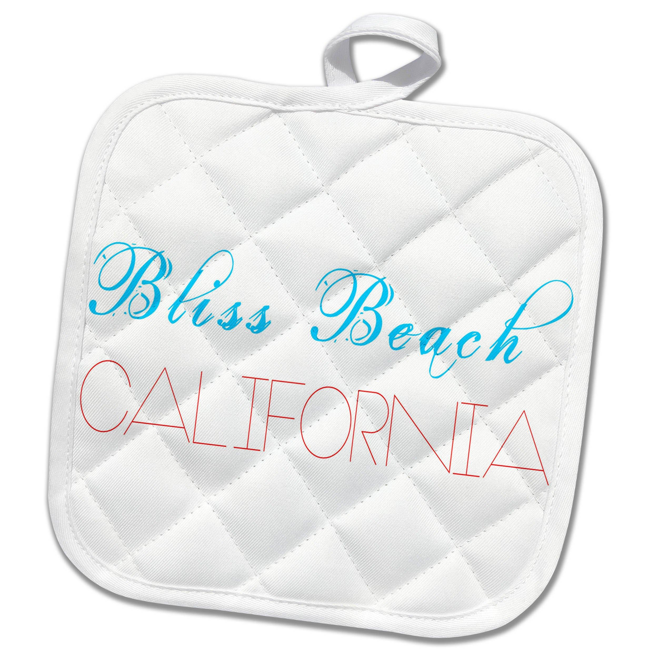 3dRose Alexis Design - American Beaches - American Beaches - Bliss Beach, California, blue, red on white - 8x8 Potholder (phl_273956_1)