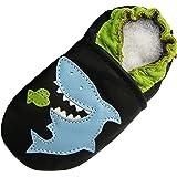Carozoo Requin Noir Shark Black, Chaussures Bébé Semelle Souple Garçons enfants