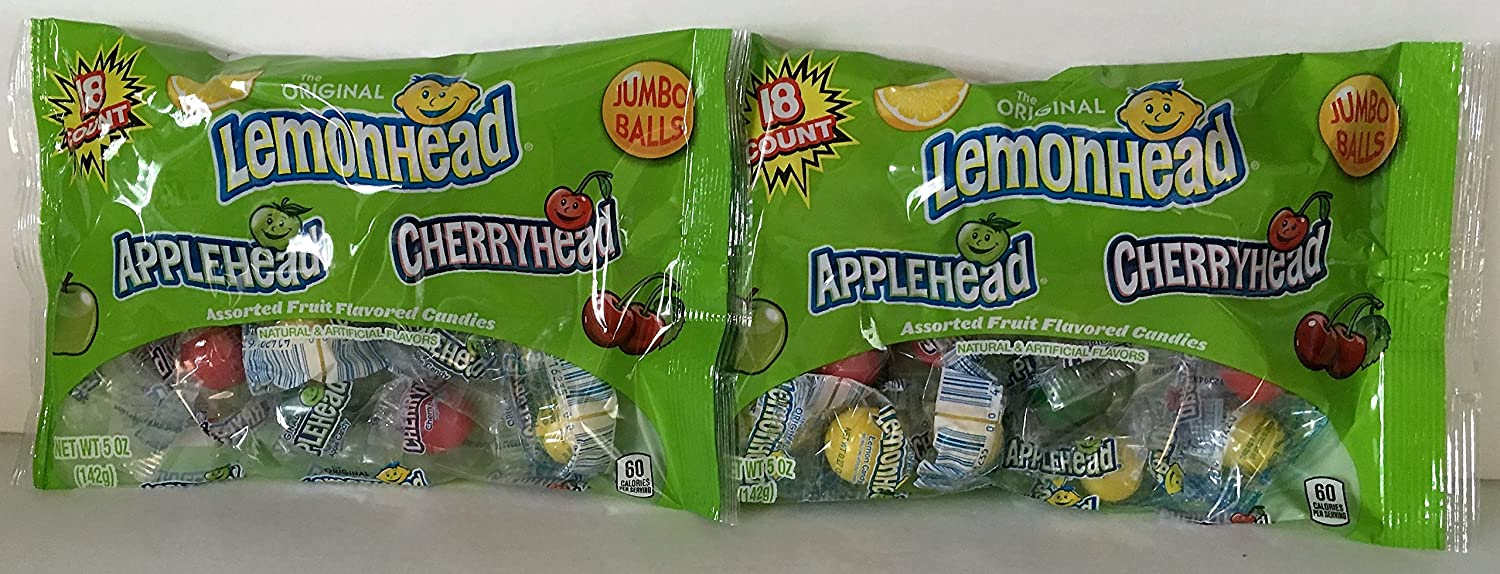 The Original Lemonhead Applehead & Cherryhead Fruit Flavored Candies Jumbo Balls 5oz Bag (Pack of 2)