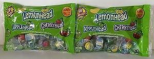 The Original Lemonhead Applehead & Cherryhead Fruit Flavored Candies Jumbo Balls 5oz Bag (Pack of 2)