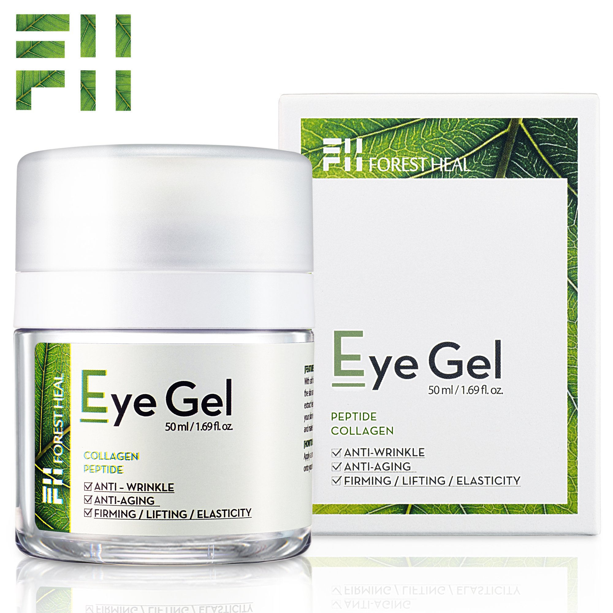 Forest Heal Eye Gel With Collagen Peptides and Niacinamide - Natural Anti Aging, Anti Wrinkle Moisturizer For Under and Around Eyes - 1.69 fl.oz. by Forest Heal (Image #2)