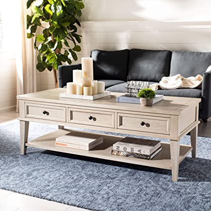 Amazon.com: Safavieh American Homes Collection Manelin White Washed Coffee  Table: Kitchen U0026 Dining