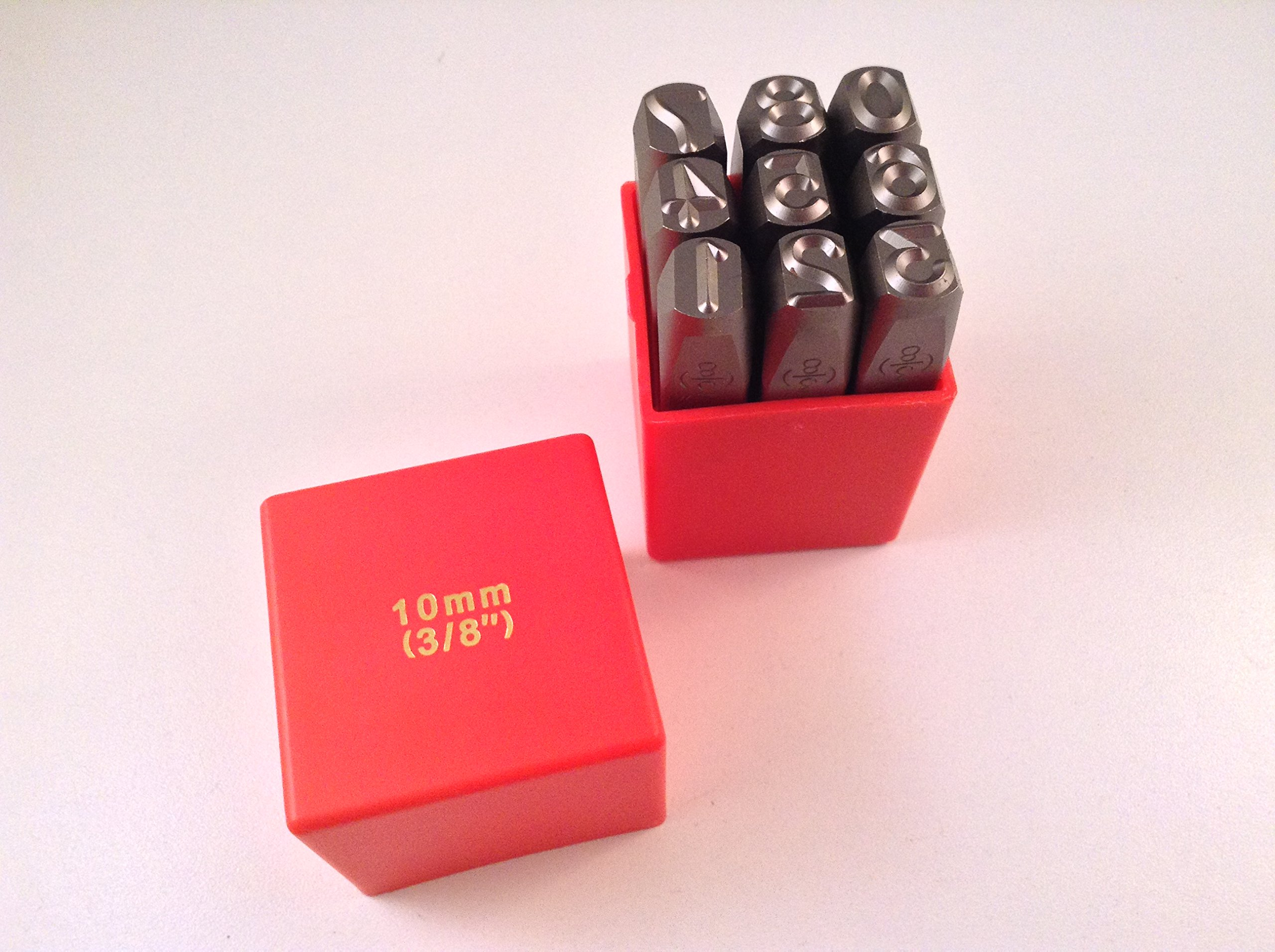 9pc 3/8'' 10MM Number Stamp Punch Set Hardened Steel, Metal Wood Leather