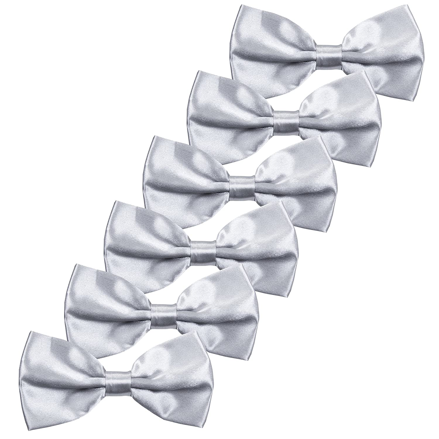 6PCS Boys Children Formal Bow Ties - Adjustable Solid Color Pre Tied Bowties (Golden Yellow) Jerrybaby