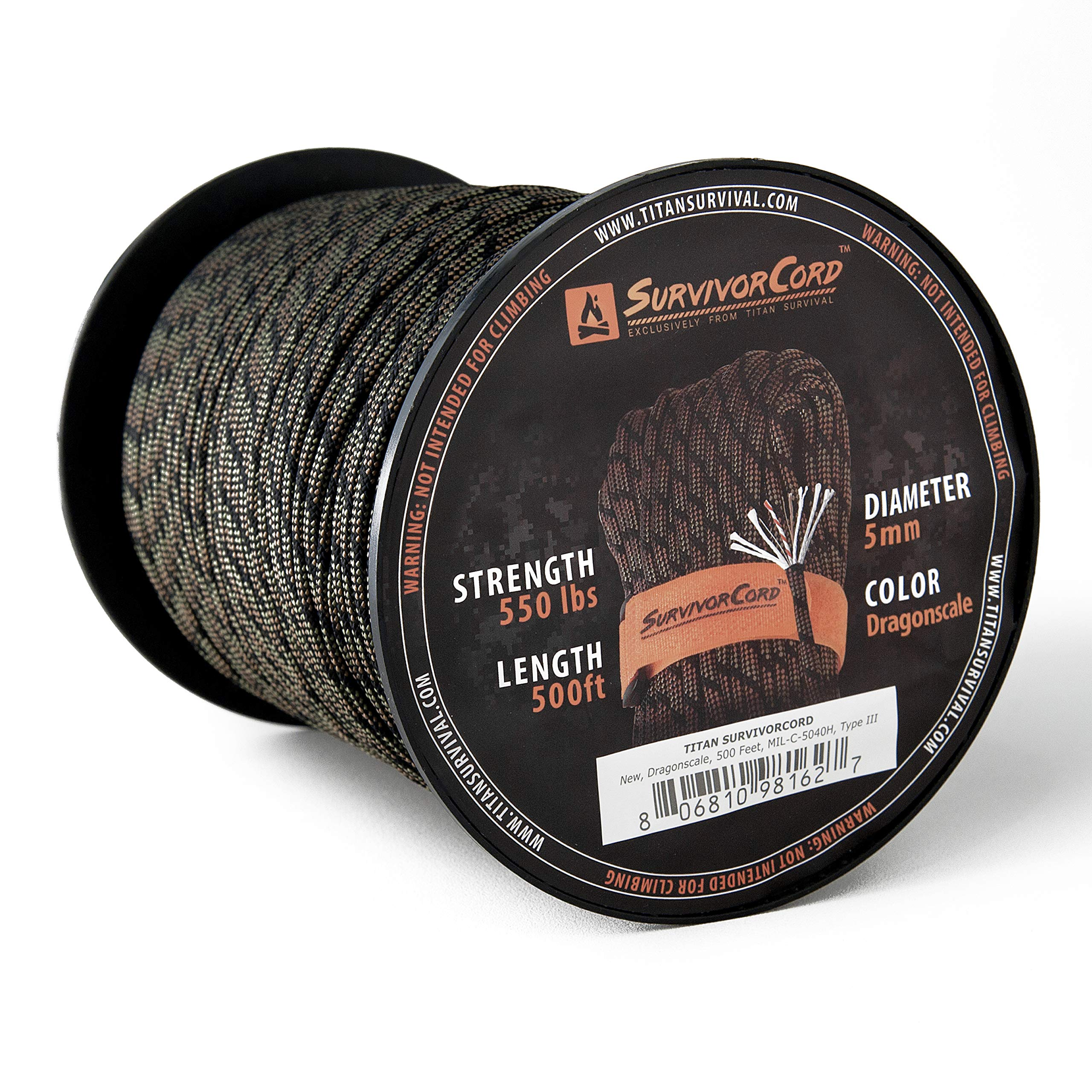 Titan SurvivorCord Spool | DRAGONSCALE, 500 FEET - Patented MIL-SPEC 550 Paracord (3/16'' Diameter) with Integrated Fishing Line, Fire-Starter, and Utility Wire. Free Paracord Project eBooks Included.