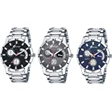Rich Club Quartz Movement Metallic Analogue Black, Blue and Grey Dial Men's Watch - 27-BLK/GRY/BLU(Pack of 3)