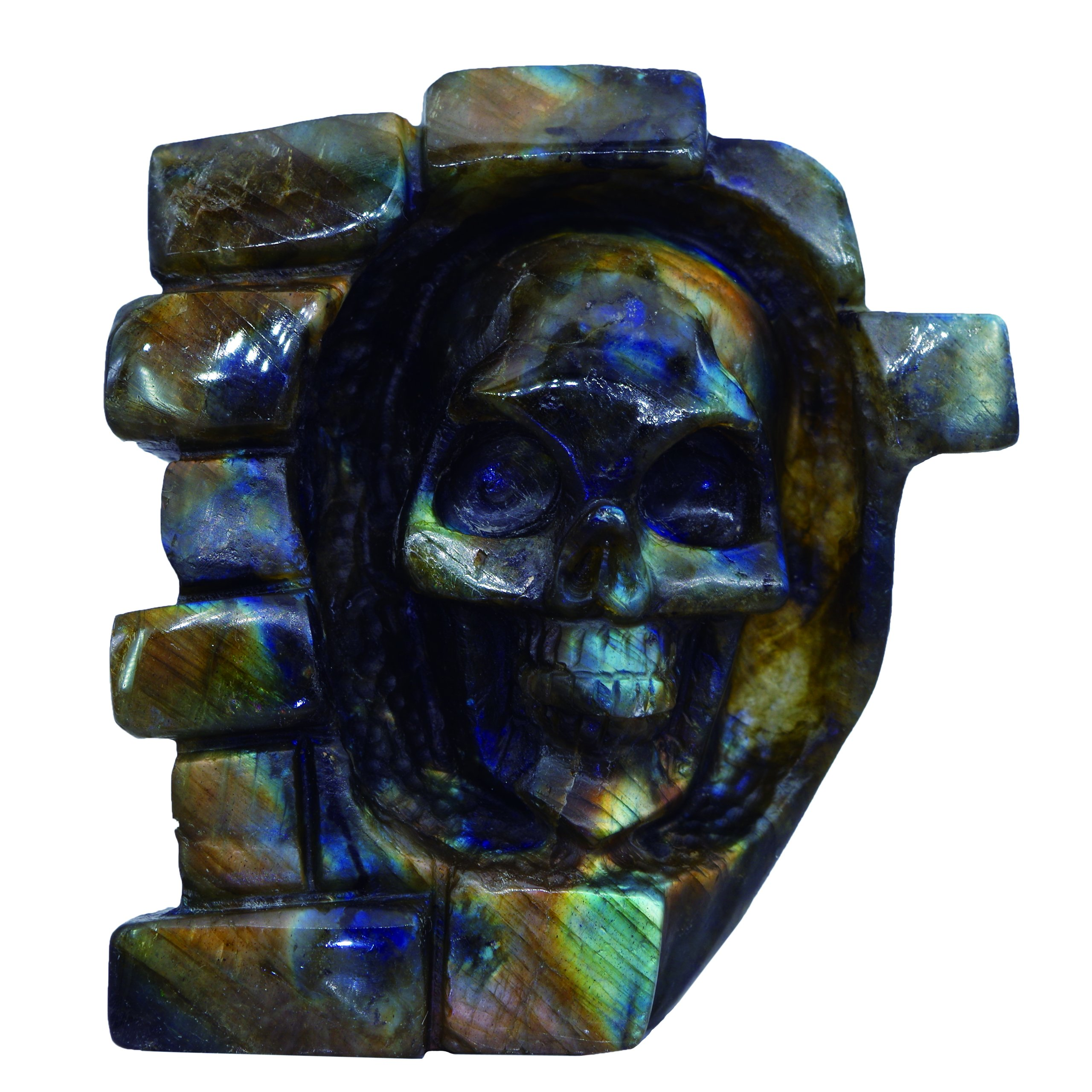 NATURSTON Gothic Skull Carving Sculpture Natural Labradorite Mens Statue Biker Decorations (Gold-3.1'')