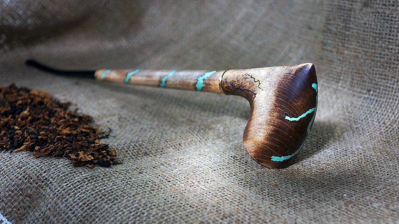 Christmas gift Exclusive Wood Pipe Gandalf Churchwarden long Hobbit pipe Long Tobacco smoking pipe with gemstone Turquoise Smoking Bowl
