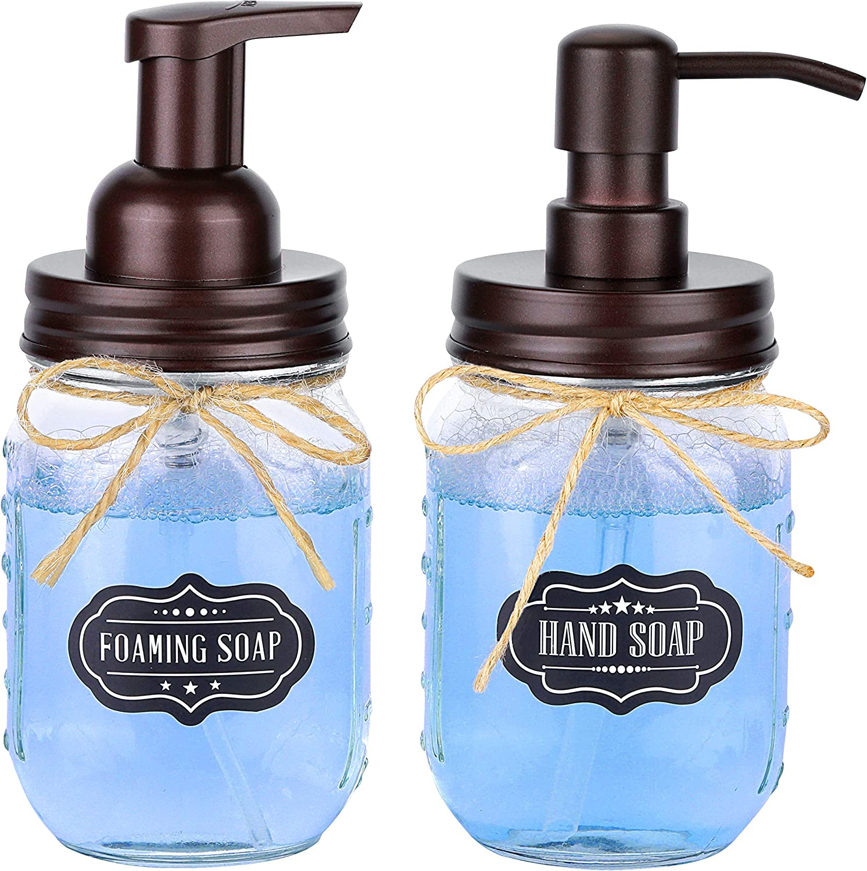 Mason Jar Foaming Soap Dispenser & Soap/Lotion Dispenser Set - Glass Mason Jars with Stainless Steel Lids - Rustic Farmhouse Decor, Bathroom Accessories Vanity & Kitchen Home Deco - 2 Pack - Bronze