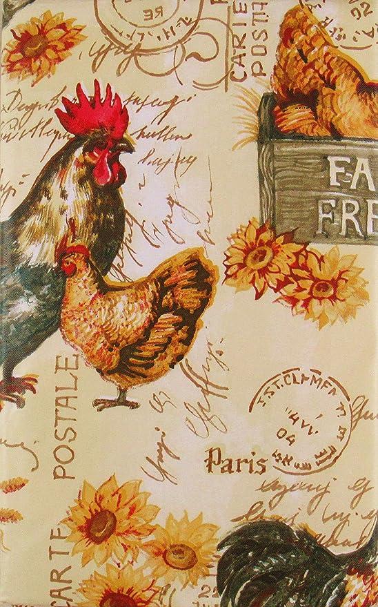 Amazon.com: Mantel de franela de vinilo con diseño de gallos ...