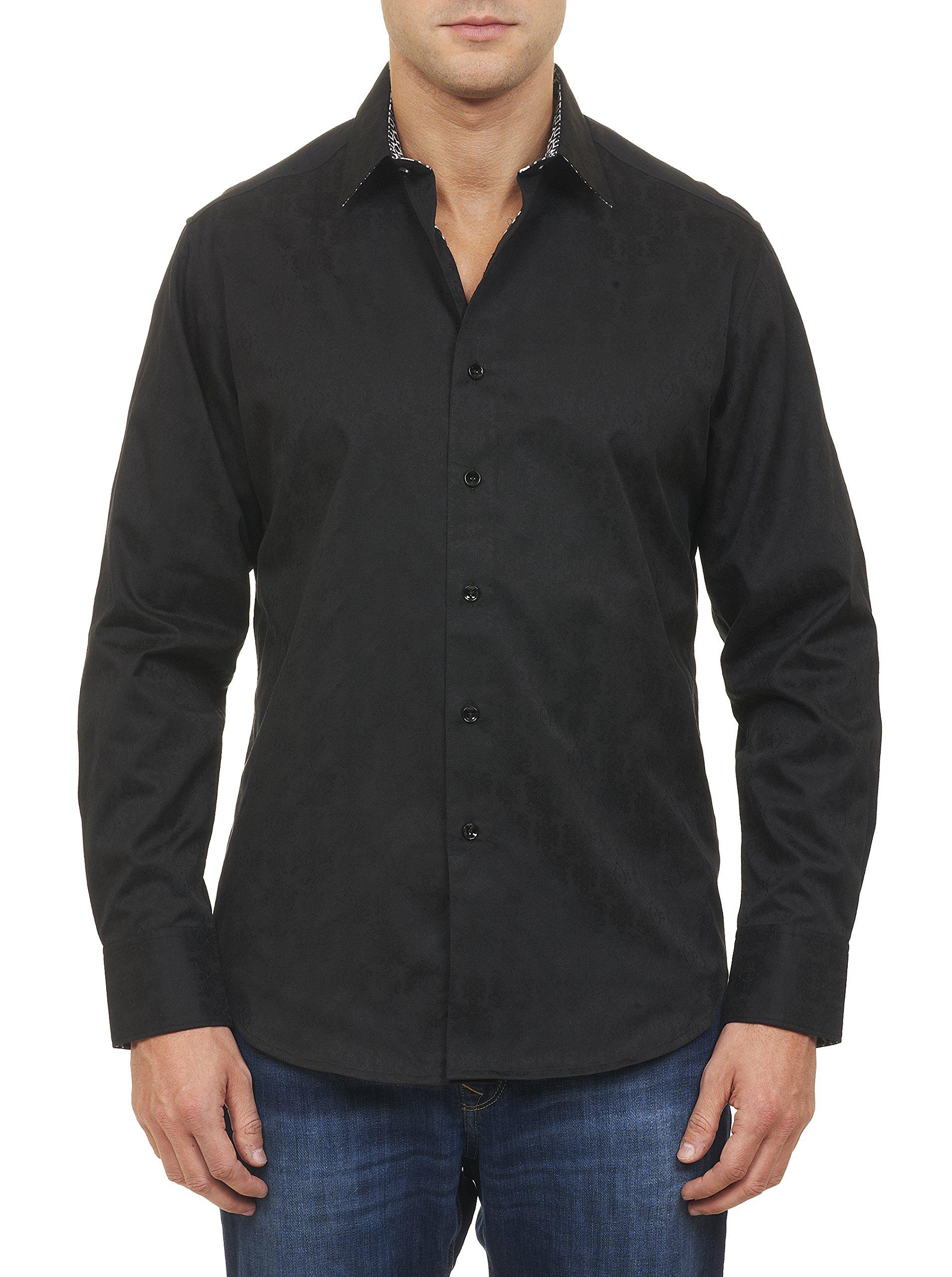Robert Graham Men's Cullen Long-Sleeve Button-Down Shirt, Black, Large