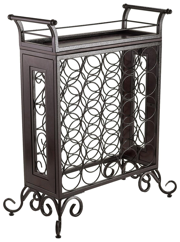 Amazon com winsome wood antique bronze finish silvano wine rack kitchen dining