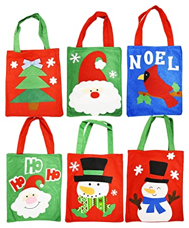 Christmas Gift Giving Images.Set Of 6 Felt Christmas Gift Bags 6 Assorted Designs 10 X 8 Felt Christmas Gift Bags Perfect For